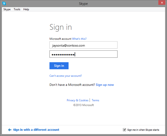 Office 365 Skype Sign in