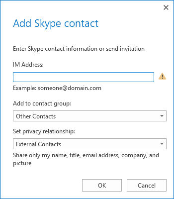 Add Skype contact to Lync
